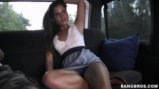 Sexy college girl spreading her pussy on BangBus