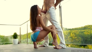 Teeny Anita Bellini pleasing her boyfriend outside