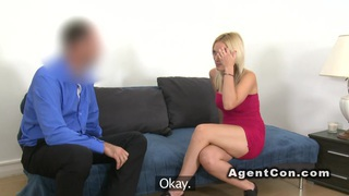 Beautiful blonde babe fucks agent