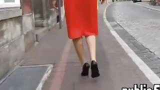 Woman In A Red Dress Walking Around
