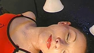 Hot angel gets pissing from studs during filming