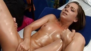 Twat pounding for hottie after a lovely massage