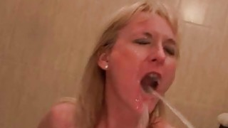 Two guys fucking and pissing on mature slut