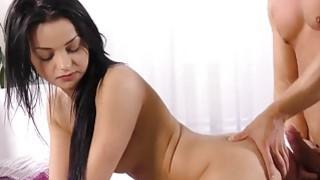 Hot brunette sucks a a really huge cock