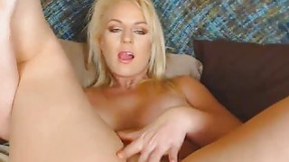 Blonde Babe With Huge Tits Rubs her Clit to Orgasm