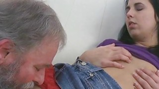 Young chick gets brave to suck old cock of a guy