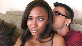 Pretty guy gets a wicked blowjob from ebon babe