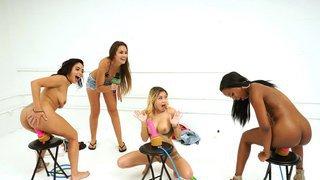 Hot girls riding a big dildo