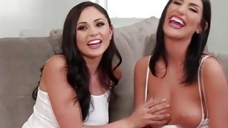 Brunette beauties Ariana and August in wild threesome