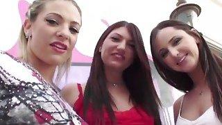 Three horny sluts swallowing big dick outdoors
