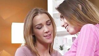 Two slim lesbians gfs tribbing in sofa
