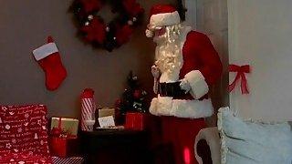 Sneaky Santa brought his rock hard penis as a gift