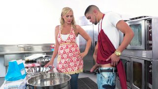 Mature Julia Ann sucks cock and licks balls in the kitchen