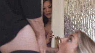 MILF Kaylani Lei teaches Stepdaughter to Suck Cock